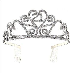 Accessories - 21st BIRTHDAY Glitter Tiara Princess Crown Comb